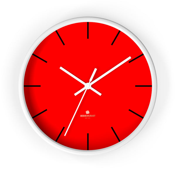 "Solid Bright Red Color Plain Modern 10"" Diameter Large Wall Clock- Made in USA-Wall Clock-10 in-White-White-Heidi Kimura Art LLC"