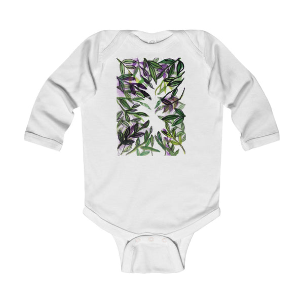 Green Tropical Leaves Baby Infant Long Sleeve Bodysuit - Made in UK (UK Size: 6M-24M)-Kids clothes-White-18M-Heidi Kimura Art LLC