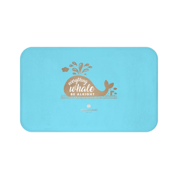 "Sky Blue ""Everything Whale Be Alright"", Inspirational Microfiber Bath Mat- Printed in USA-Bath Mat-Large 34x21-Heidi Kimura Art LLC"
