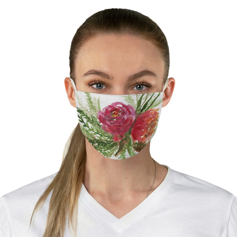 Red Rose Floral Face Mask, Adult Modern Flower Print Fabric Face Mask-Made in USA-Accessories-Printify-One size-Heidi Kimura Art LLC