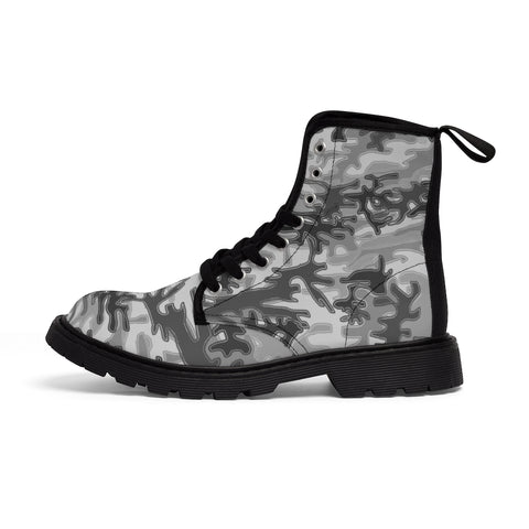 Light Grey Camo Men's Boots, Gray Camouflage Camo Military Combat Work Hunting Boots, Anti Heat + Moisture Designer Men's Winter Boots Hiking Shoes (US Size: 7-10.5)