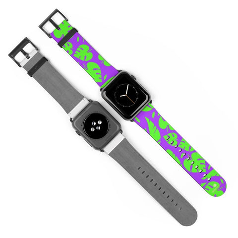 Purple Green Tropical Leaf Print 38mm/42mm Watch Band For Apple Watch- Made in USA-Watch Band-Heidi Kimura Art LLC