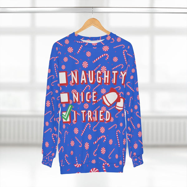 Funny Blue Red Candy Cane Christmas Holiday Crewneck Unisex Sweatshirt -Made in USA-Unisex Sweatshirt-L-Heidi Kimura Art LLC