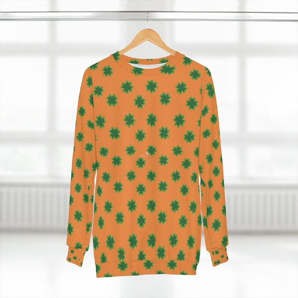 Orange St. Patrick's Day Green Clover Print Unisex Couple's Sweatshirt- Made in USA-Unisex Sweatshirt-2XL-Heidi Kimura Art LLC