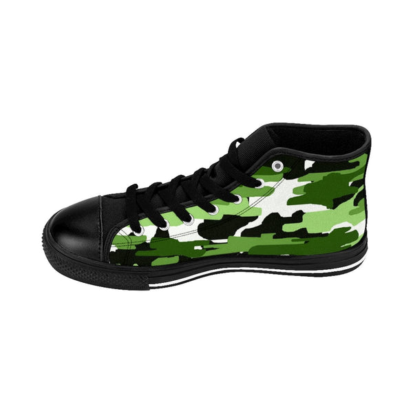 Frog White Green Camouflage Army Military Print Men's High-top Sneakers Shoes-Men's High Top Sneakers-Heidi Kimura Art LLC