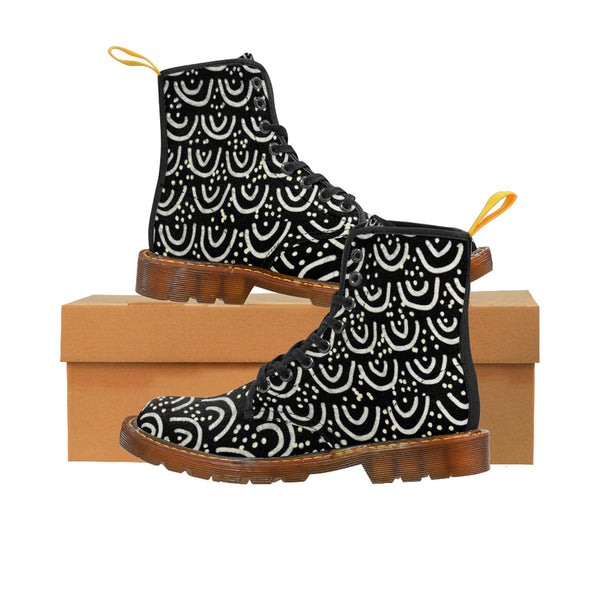 Black Mermaid Scale Print Anti Heat + Moisture Designer Men's Winter Boots Shoes-Men's Boots-Brown-US 10-Heidi Kimura Art LLC Black Mermaid Men's Winter Boots, Black Mermaid Scale Print Anti Heat + Moisture Designer Men's Winter Boots Shoes (US Size: 7-10.5)
