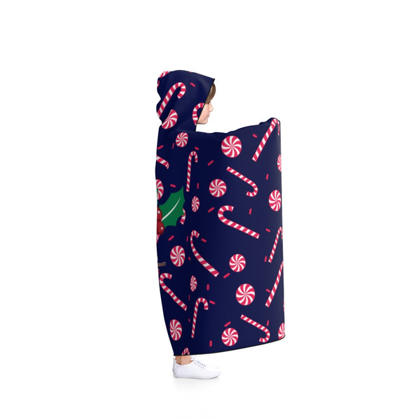 Navy Blue Lightweight Christmas Red Sugar Cane Holiday Party Hooded Blanket-Hooded Blanket-Heidi Kimura Art LLC