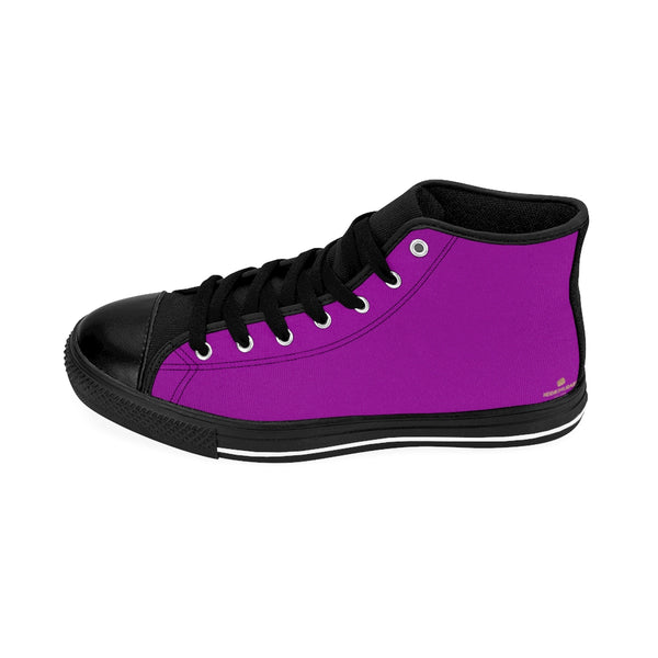 Hot Purple Solid Color Print Premium Men's High-top Premium Fashion Sneakers-Men's High Top Sneakers-Heidi Kimura Art LLC