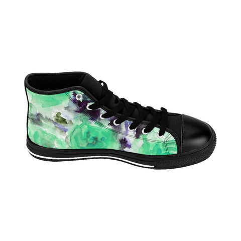 Blue Rose Floral Print Women's High Top Designer Sneakers Tennis Shoes (US Size: 6-12)-Women's High Top Sneakers-Heidi Kimura Art LLC Blue Rose Floral Women's Sneakers, Blue Rose Floral Print Women's High Top Designer Sneakers Tennis Shoes(US Size: 6-12)