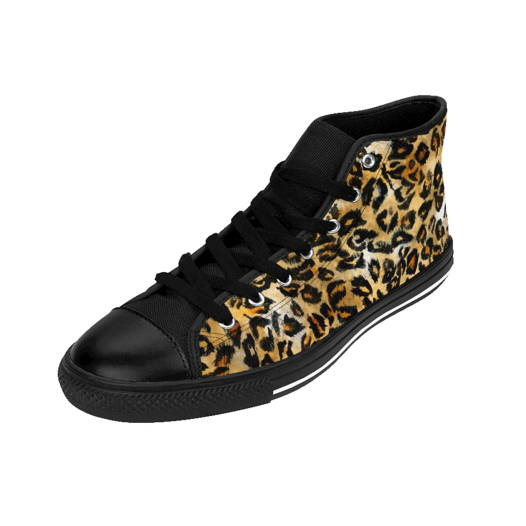 Leopard Print Men's High-top Sneakers, Animal Print Designer Men's High-top Sneakers Running Tennis Shoes, Floral High Tops, Mens Wild Cat Striped Print Shoes, Tiger Stripes Animal Print Sneakers For Men (US Size: 6-14)
