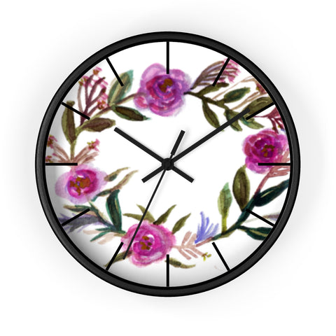 Misty Purple Pink Rose Floral Rose Print Large 10 inch Diameter Wall Clock-Made in USA-Wall Clock-Black-Black-Heidi Kimura Art LLC Pink Floral Wall Clock, Misty Purple Pink Rose Floral Rose Print Large 10 inch Diameter Wall Clock - Made in USA