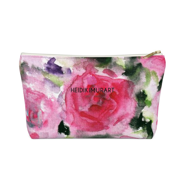 Kawashima Pink Spokane Sweet Pink Rose Floral Designer Accessory Pouch with T-bottom - Heidi Kimura Art LLC