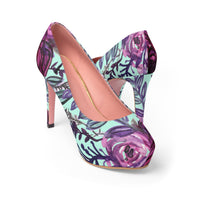 "French Rose Purple & Light Blue Autumn Floral Print Girlie Women's 4"" Platform Heels - Heidi Kimura Art LLC"