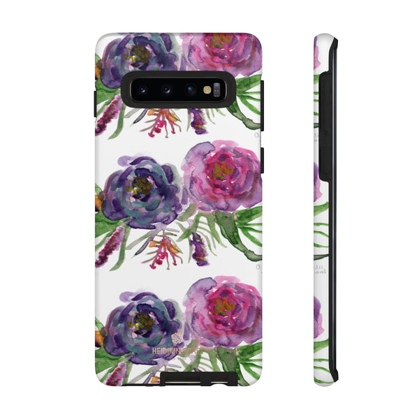 Pink Floral Print Phone Case, Roses Tough Designer Phone Case -Made in USA-Phone Case-Printify-Samsung Galaxy S10-Matte-Heidi Kimura Art LLC