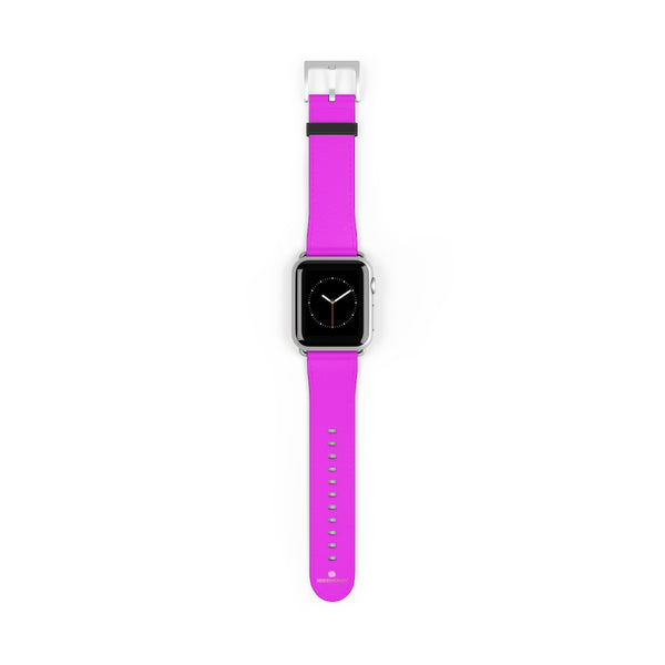 Hot Pink Solid Color Solid Color 38mm/42mm Watch Band For Apple Watches- Made in USA-Watch Band-38 mm-Silver Matte-Heidi Kimura Art LLC