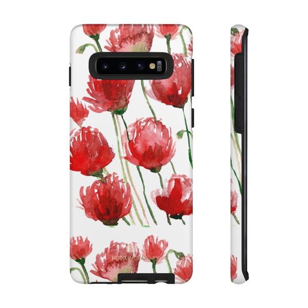 Red Tulips Floral Tough Cases, Roses Flower Print Best Designer Phone Case-Made in USA-Phone Case-Printify-Samsung Galaxy S10-Matte-Heidi Kimura Art LLC