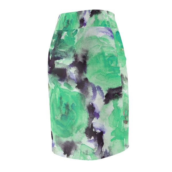 Snowy Rose Floral Print Women's Designer Pencil Skirt - Made in USA (Size XS-2XL)-Pencil Skirt-Heidi Kimura Art LLC