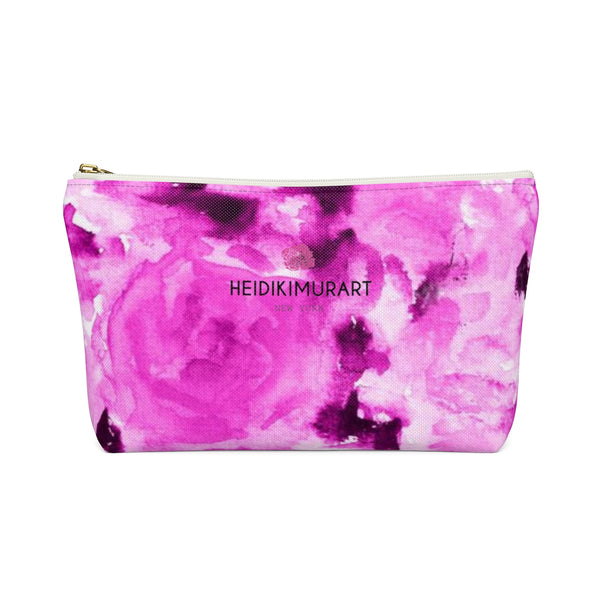 Pink Olympia Sweet Pink Rose Floral Designer Accessory Pouch with T-bottom-Accessory Pouch-Heidi Kimura Art LLC