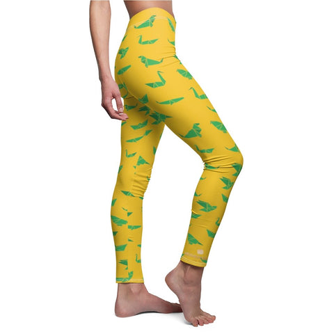 Yellow Green Japanese Crane Origami Print Women's Dressy Casual Leggings-Made in USA-Casual Leggings-Heidi Kimura Art LLC