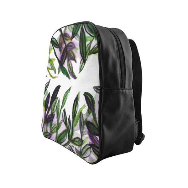 Green Tropical Leaf Print Bag, Purple Tropical Leaves Print School Backpack School Bag-Backpack-Heidi Kimura Art LLC