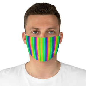 "Gay Pride Striped Face Mask, Colorful Vertical Stripes Fashion Face Mask For Men/ Women, Designer Premium Quality Modern Polyester Fashion 7.25"" x 4.63"" Fabric Non-Medical Reusable Washable Chic One-Size Face Mask With 2 Layers For Adults With Elastic Loops-Made in USA"