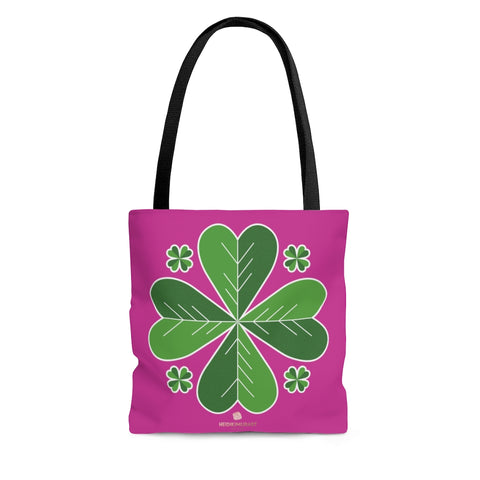 Hot Pink And Green Irish Green Clover Leaf St. Patrick's Day Print Tote Bag- Made in USA-Tote Bag-Large-Heidi Kimura Art LLC
