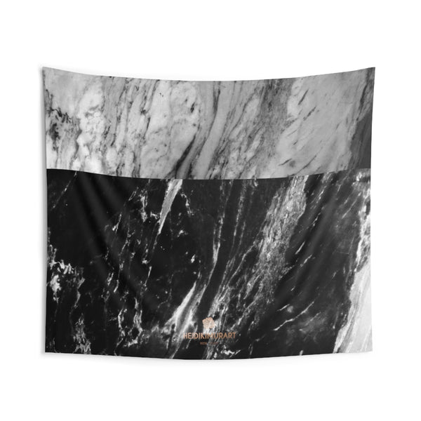 Grey Black Marble Print Designer Indoor Wall Tapestries- Made in USA-Home Decor-104x88-Heidi Kimura Art LLC