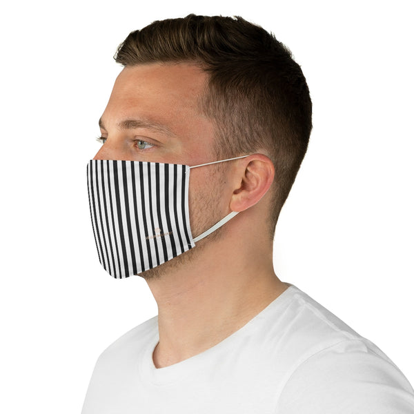 "Black Vertically Striped Face Mask, Fashion Face Mask For Men/ Women, Designer Premium Quality Modern Polyester Fashion 7.25"" x 4.63"" Fabric Non-Medical Reusable Washable Chic One-Size Face Mask With 2 Layers For Adults With Elastic Loops-Made in USA"