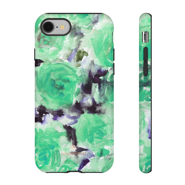 Turquoise Floral Print Tough Cases, Designer Phone Case-Made in USA-Phone Case-Printify-iPhone 8-Glossy-Heidi Kimura Art LLC