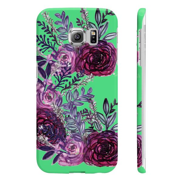 Lime Green Slim iPhone/ Samsung Galaxy Floral Purple Rose Phone Case, Made in UK-Phone Case-Samsung Galaxy S6 Edge Slim-Glossy-Heidi Kimura Art LLC