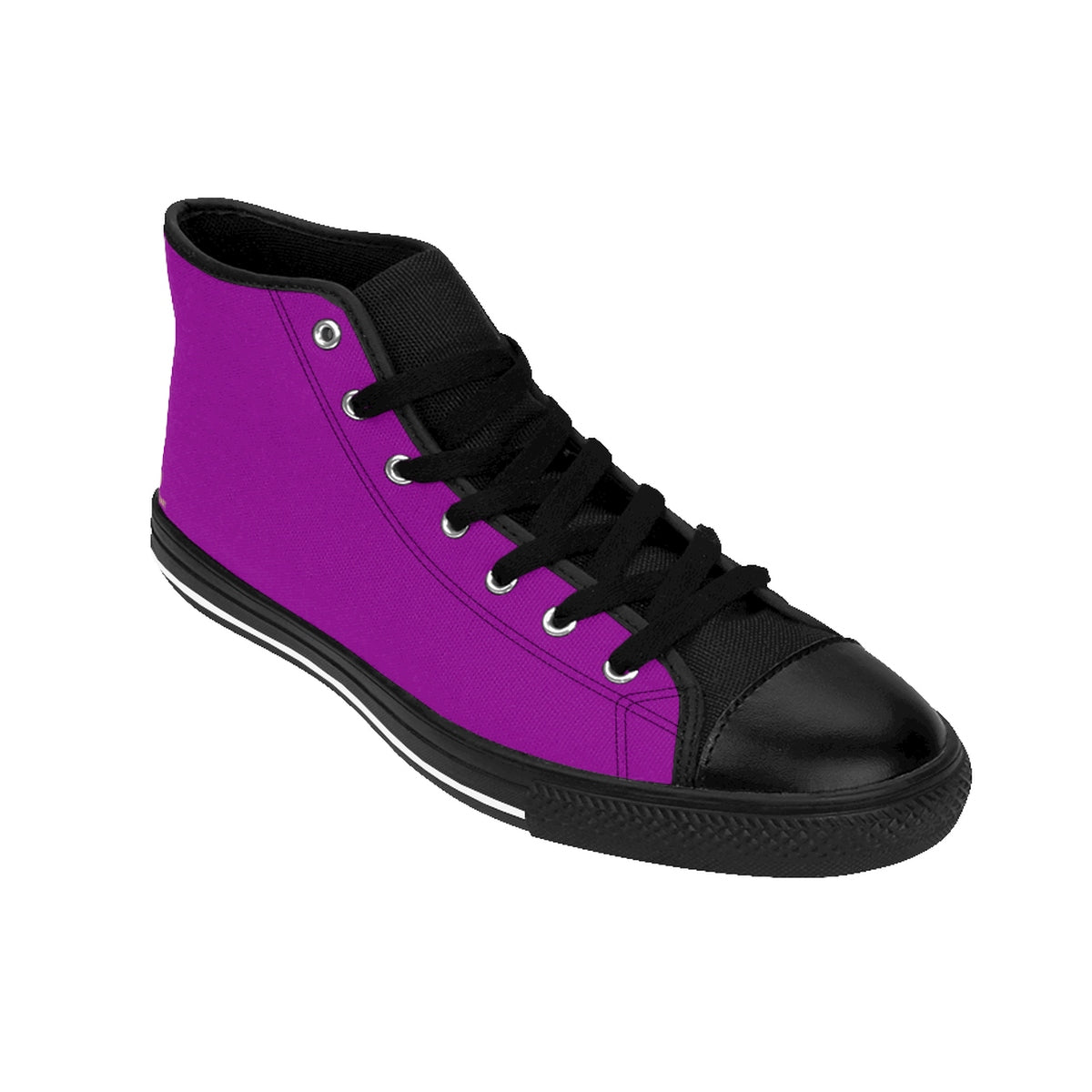 Hot Purple Solid Color Print Premium Men's High-top Premium Fashion Sneakers-Men's High Top Sneakers-Black-US 9-Heidi Kimura Art LLC