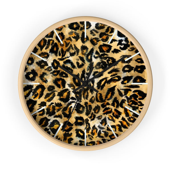 "Brown Leopard Print Wall Clock, Animal Print Pattern 10"" Dia. Indoor Clock-Made in USA-Wall Clock-Wooden-Black-Heidi Kimura Art LLC"