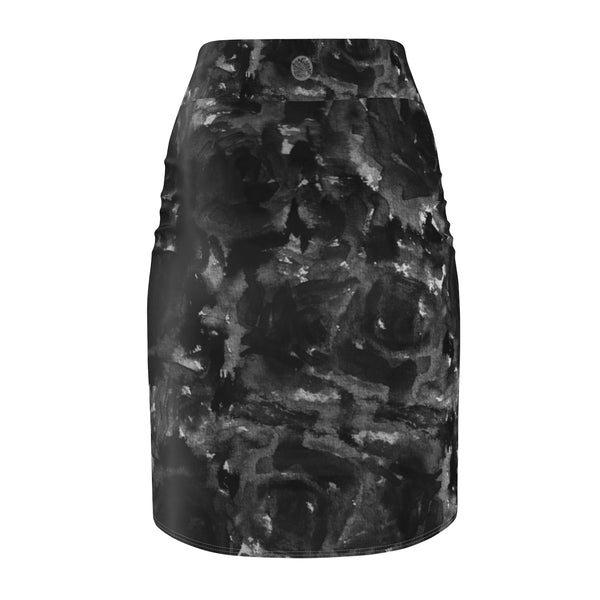 Black Abstract Rose Floral Print Women's Pencil Skirt - Made in USA (Size XS-2XL)