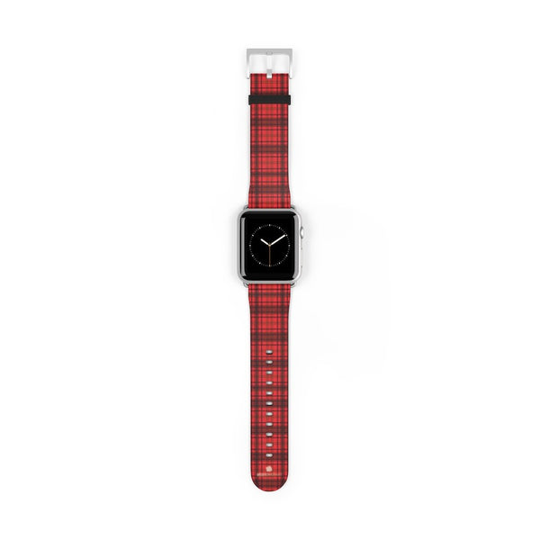 Scottish Red Tartan Plaid Print 38mm/42mm Watch Band For Apple Watch- Made in USA-Watch Band-42 mm-Silver Matte-Heidi Kimura Art LLC