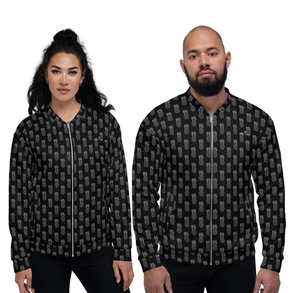 Black Pineapple Bomber Jacket, Premium Quality Modern Unisex Jacket For Men/Women With Pockets-Made in EU Black Pineapple Bomber Jacket, Hawaiian Tropical Fruit Style Premium Quality Modern Unisex Jacket For Men/Women With Pockets-Made in EU