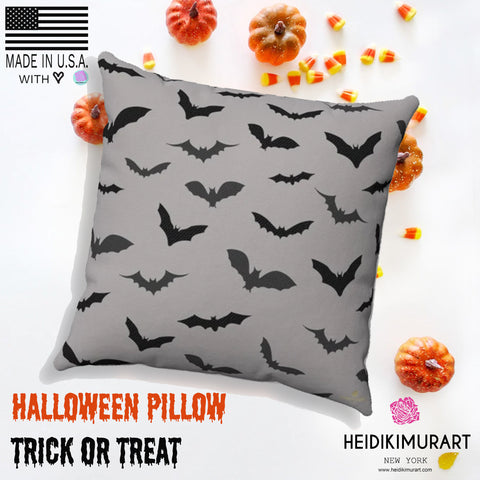 Gray Black Bats Print Spooky Halloween Pillow Spun Polyester Square Pillow- Made in USA-Pillow-Heidi Kimura Art LLC