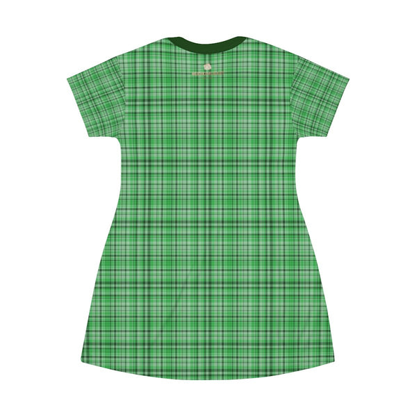 Green Plaid Tartan Print Designer Crew Neck T-shirt Dress-Made in USA-T-Shirt Dress-Heidi Kimura Art LLC