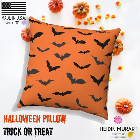 Orange Black Bats Print Halloween Pillow Spun Polyester Square Pillow- Made in USA-Pillow-Heidi Kimura Art LLC