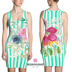 Keri Turquoise Blue Striped Women's 1-pc Pink Floral Print Sleeveless Dress - Made in USA/ Europe