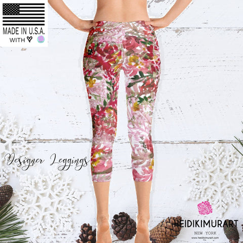 Fall Red Floral Capri Leggings Casual Fashion Activewear - Made in USA (US Size: XS-XL)-capri leggings-Heidi Kimura Art LLC Fall Red Floral Capri Leggings, Fall Red Floral Capri Leggings Casual Fashion Activewear - Made in USA/EU/MX (US Size: XS-XL)