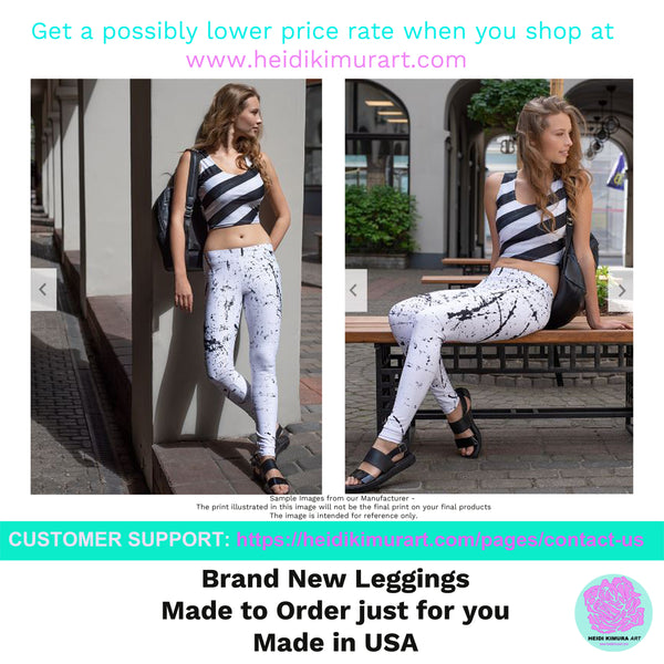 Women's Blue & White Striped Fitted Stretchy Long Yoga Leggings-Made in USA-Leggings-Heidi Kimura Art LLC