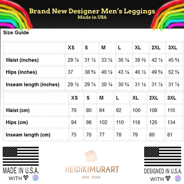 Colorful Rainbow Ombre Print Premium Men's Leggings Men Tights- Made in USA/EU-Men's Leggings-Heidi Kimura Art LLC