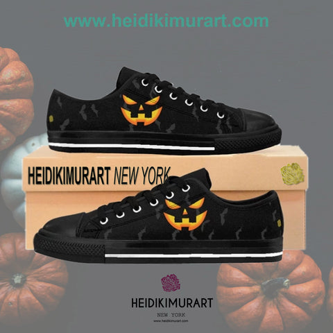Men's Gray Bats Halloween Party Black Orange Pumpkin Face Low Top Sneakers Shoes (Size: 6-14)
