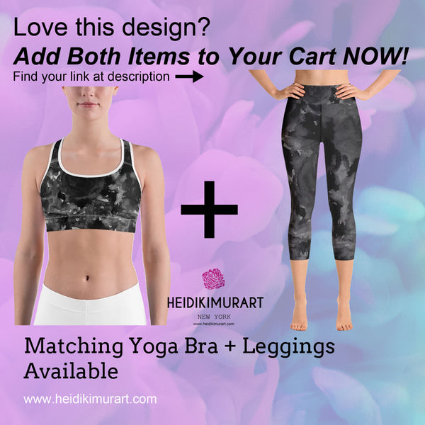 Black Rose Abstract Floral Print Women's Sports Bra- Made in USA (US Size:XS-2XL)-Sports Bras-Heidi Kimura Art LLC