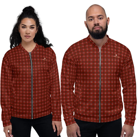 Red Plaid Print Bomber Jacket, Classic Preppy Traditional Style Premium Quality Modern Unisex Jacket For Men/Women With Pockets-Made in EU