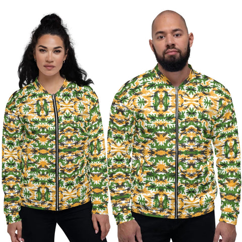 Green Yellow Camo Bomber Jacket, Camouflage Army Military Print Premium Quality Modern Unisex Jacket For Men/Women With Pockets-Made in EU