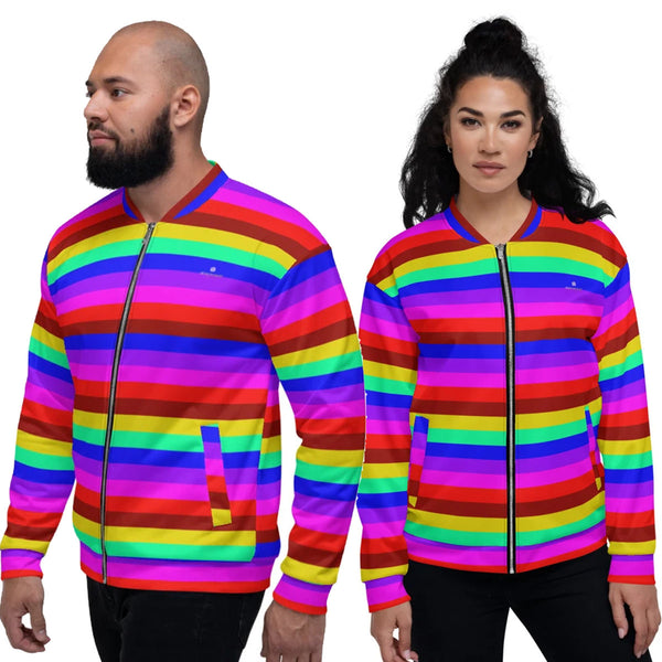 Rainbow Horizontal Striped Bomber Jacket, Gay Friendly LGBTQ Friendly Jacket, Best Premium Quality Modern Unisex Jacket For Men/Women With Pockets-Made in EU