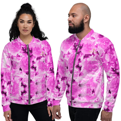 Pink Rose Bomber Jacket, Floral Print Premium Quality Modern Unisex Jacket For Men/Women With Pockets-Made in EU