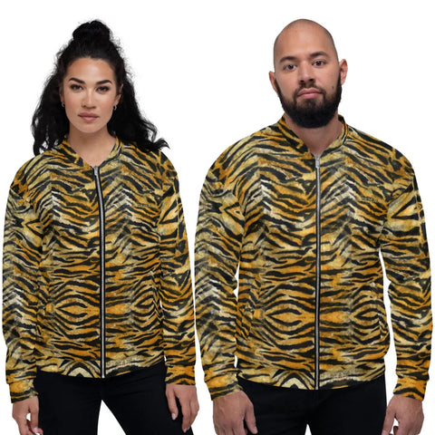 Orange Brown Tiger Stripe Bomber Jacket, Animal Print Premium Quality Modern Unisex Jacket For Men/Women With Pockets-Made in EU