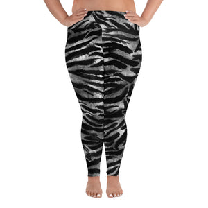 White Gray Tiger Stripe Animal Print Women's Yoga Pants Plus Size Leggings-Made in USA/EU-Women's Plus Size Leggings-2XL-Heidi Kimura Art LLC